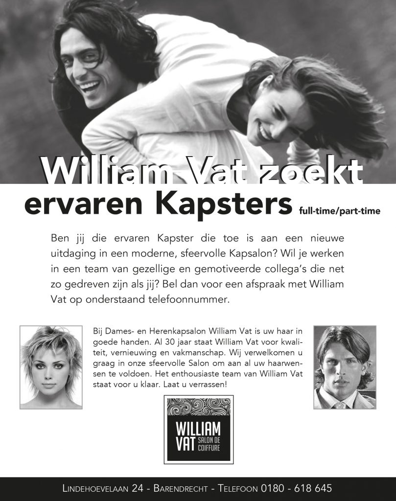 Vacatures salon William Vat